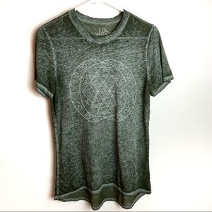 LOL Vintage Olive Burnout Star Moon Graphic Tee M